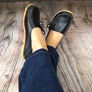 Shoes - Leather Black Moccasins Socofy Style Shoes